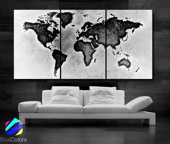 Black And White World Map Framed.Large 30 X 60 3 Panels Art Canvas Print World Map Black White