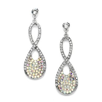 Best Selling Prom/Bridesmaids Infinity Earrings Pave Crystal AB