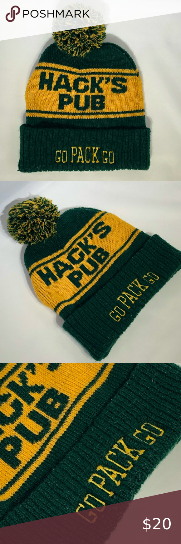 Green Bay Packers Hack S Pub Go Pack Winter Hat In 2020 Winter Hats Winter Stockings Stocking Hat