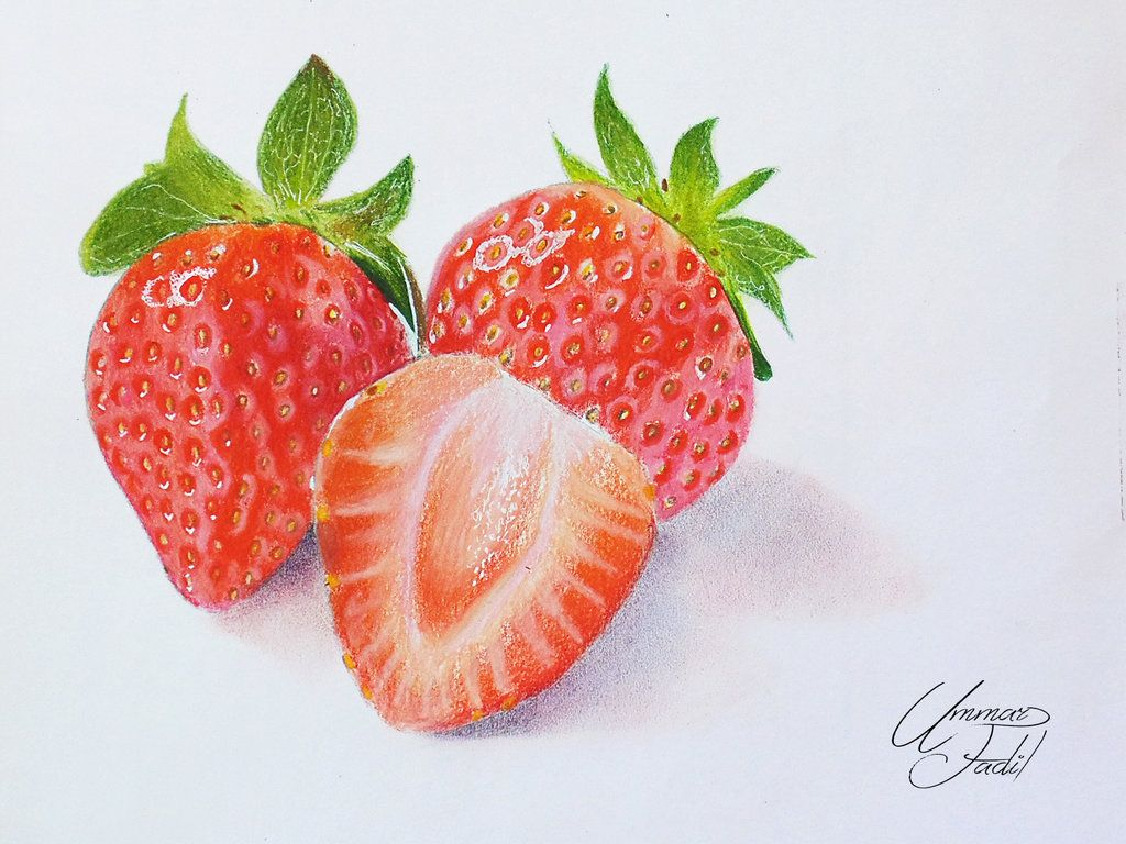 How to draw with colored pencils - Drawing Fruits 3 Strawberries Colored Pencils By F A D I L Deviantart Com On