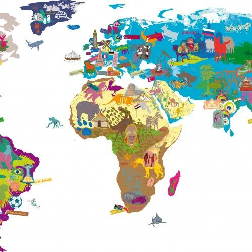 Mimi lou world map wall sticker a big world map on which you add mimi lou world map wall sticker a big world map on which you add removable stickers with the name of capital cities flags animals and symbols from each gumiabroncs Gallery