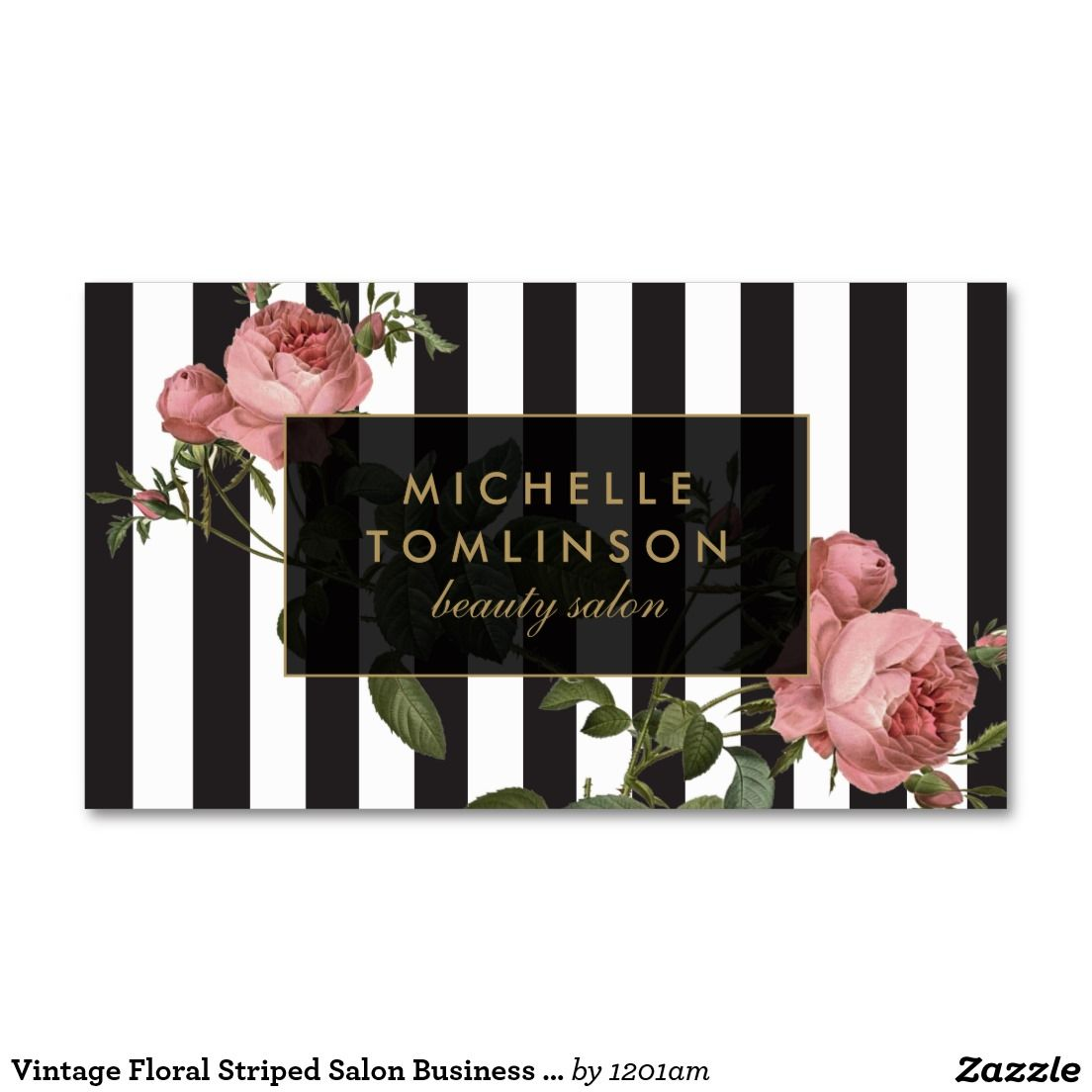 Vintage floral striped salon business card pack of standard vintage floral striped salon business card pack of standard business cards reheart Image collections