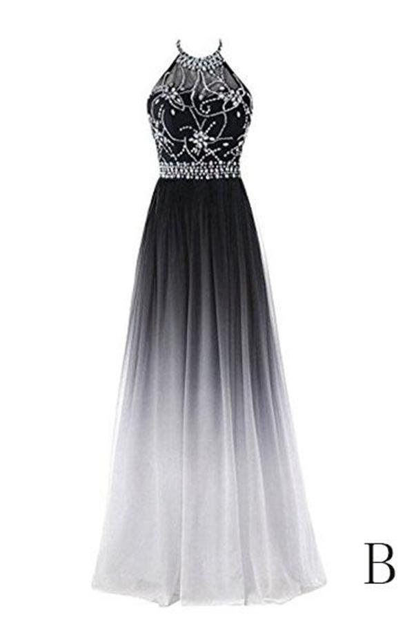 Classy Black And White Long Lace Up Halter Beaded Prom Dresses Z1001 Ombre Prom Dresses Cute Prom Dresses Junior Prom Dresses