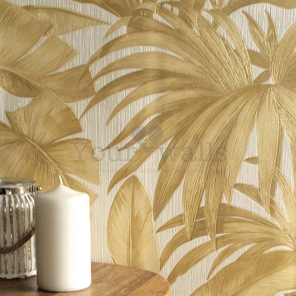Versace Palm Leaf Designer Leaf Tree Wallpaper In Gold Pearly White Gold Tree Wallpaper Tree Wallpaper Palm Leaf Wallpaper