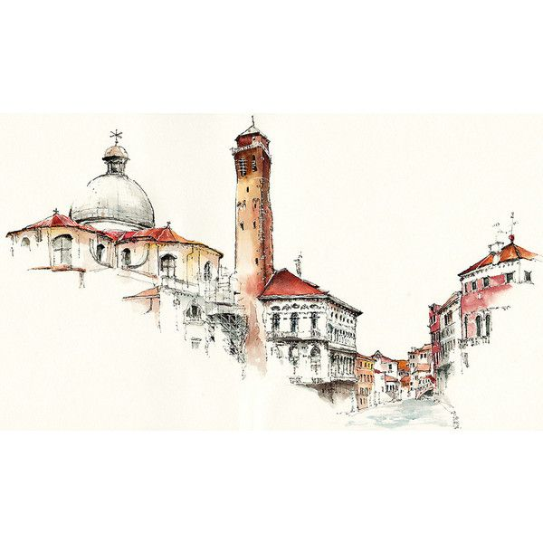Elusive Architecture in Watercolors of Korean Artist Sunga Park ❤ liked on Polyvore featuring backgrounds