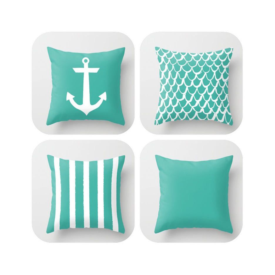 OUTDOOR Throw Pillow . Turquoise Mermaid Pillow . Coastal Patio Cushion . Anchor  Pillow . Stripe