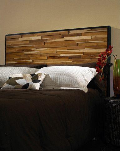 Reclaimed Wood Headboard King Made Of Blocks Of Scrap Teak Wood