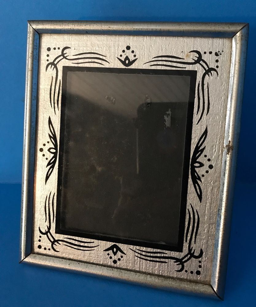 Art Deco 1930\'s Reverse Painted Easel Silver Glass Picture 3x4 Frame ...