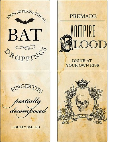 Halloween Poison Label Set Holiday Fun Halloween labels