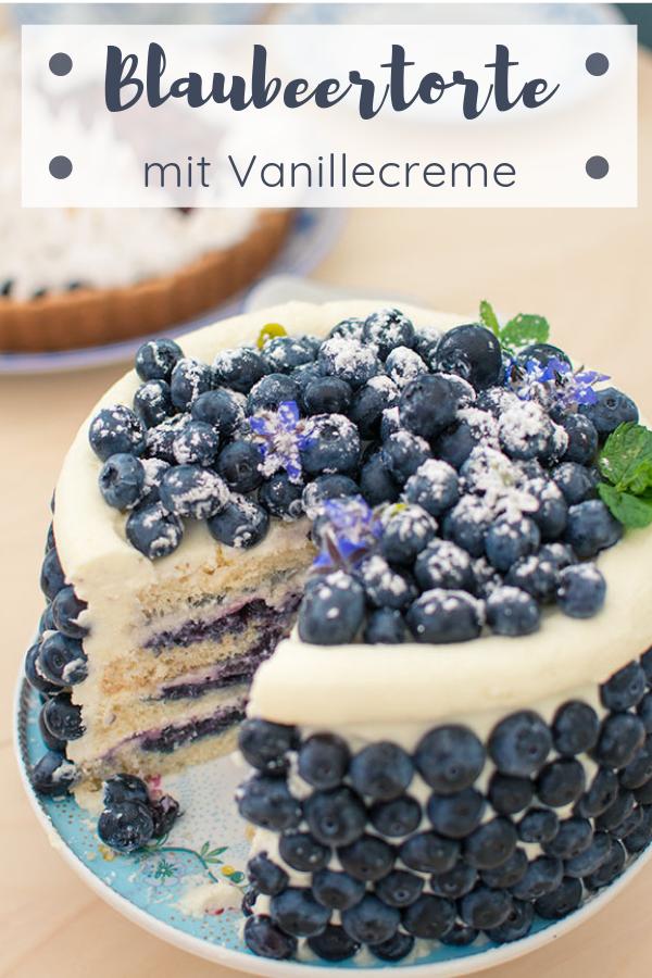 Blaubeertorte mit einem Hauch Orange und Vanillecreme #tortenrezepte