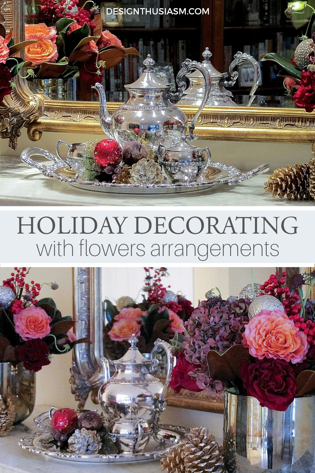 Not ready to pull out all of your holiday decor? Try easing into holiday decorating with Christmas flower arrangements and subtle seasonal baubles. -----> #christmasdecorideas #christmasdecorations #christmasdecorationideas #holidaydecorideas #holidaydecorations #holidaydecoratingideas #holidaydecoronabudget #frenchcountrychristmas #christmasflowerarrangements #designthusiasm