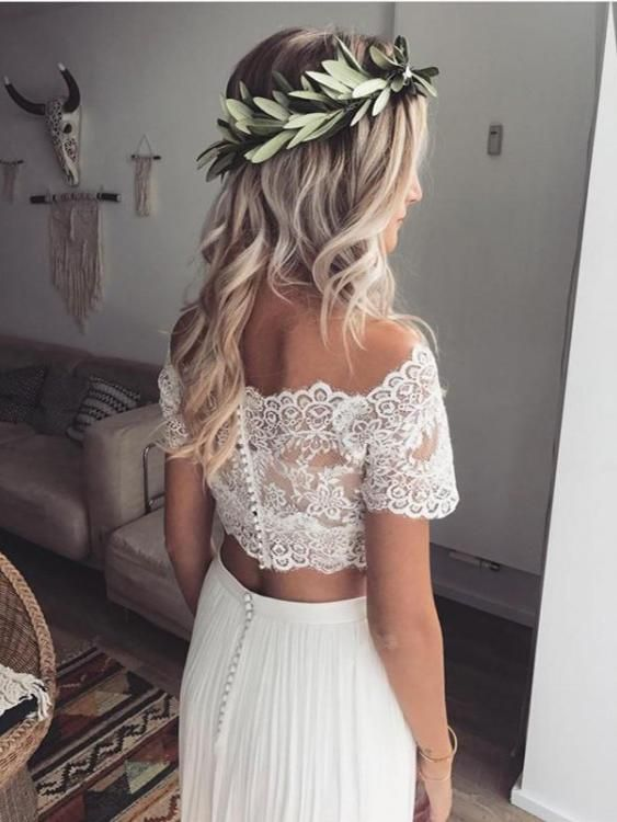 Two Piece Wedding Dresses Off The Shoulder Lace Short Sleeve Chiffon Simple Bridal Gown Jkw254 Beach Wedding Gowns Boho Lace Beach Wedding Dress Two Piece Wedding Dress
