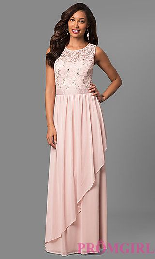 Lace Bodice Long Sleeveless Mother-of-the-Bride Dress