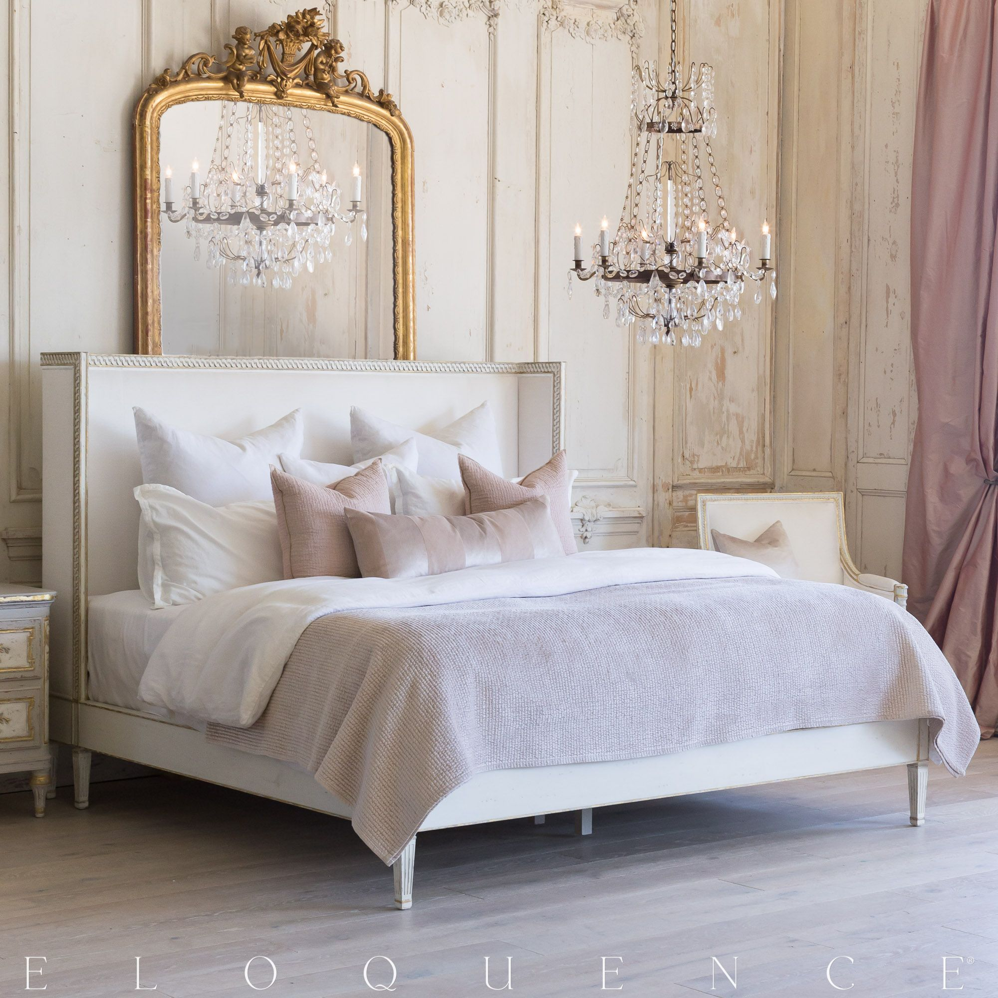 Eloquence Cassia Queen Bed In Antique White With Gold Leaf Finish