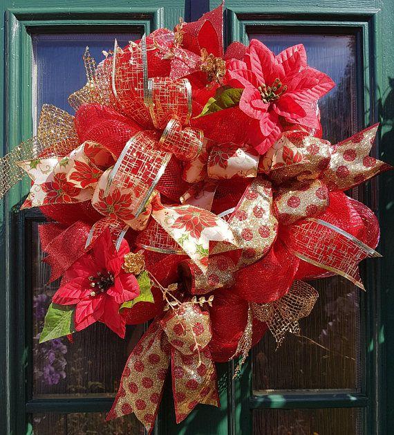 Red Deco-Christmas, wreath, deco mesh, christmas, decoration