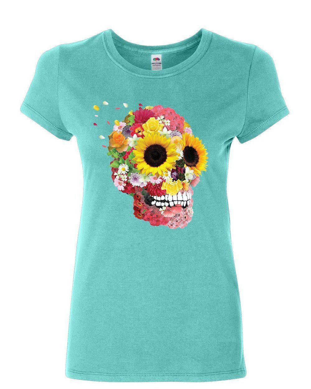 fc9eb618b48ff Sunflowers sugar skull women shirt day of the dead calavera mexico shirt  february jpg 1000x1250 Calavera