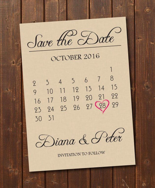 how to make wedding invitation card in microsoft word007%0A ON SALE Save the Date Calendar Template Download Engagement Announcement  Card DIY