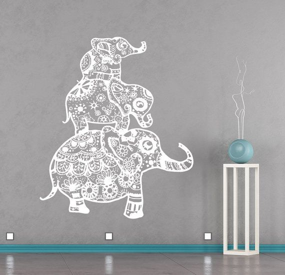 Elephants Family Wall Decals Indian Decal Vinyl Sticker Bohemian