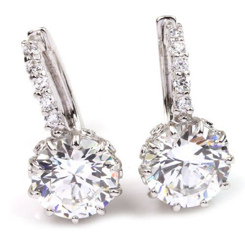 Buy the White Gold Plated CZ Round Swarovski Crystal Crown Leverback Snap Closure Bridal Wedding Drop Earrings at mariescrystals.com