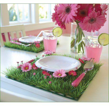 Little Boo-Teek - Pink Daisy Grass Table Mats | Candy Buffet Styling | Boutique Kids Party Supplies   cute as!