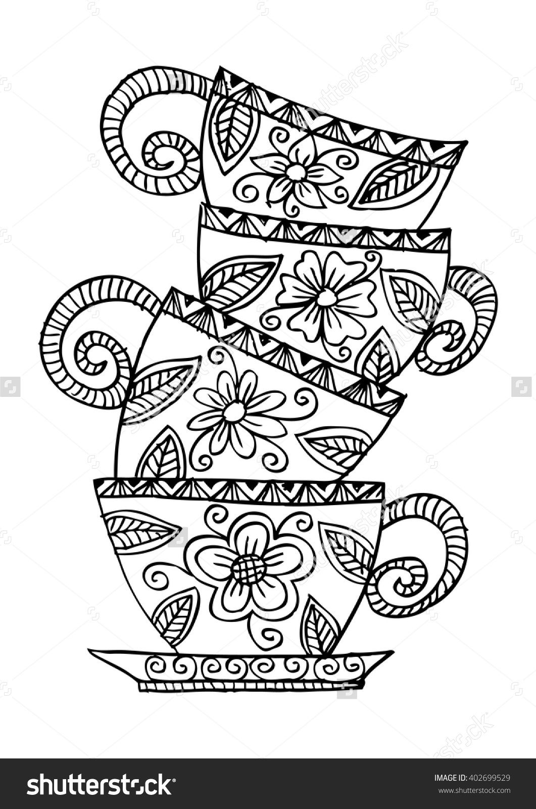 Coffee Cups Stacked Illustration 402699529 Shutterstock Coloring Pages Coloring Books Doodle Coloring