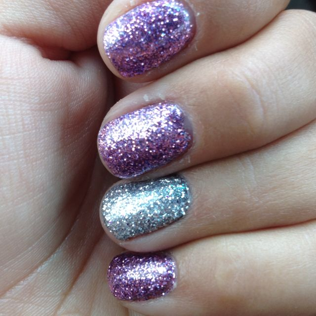 Nails! With silver glitter and purple glitter & gel foundation, one ...