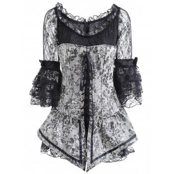 free shipping 2018 paisley lace up corset with layered
