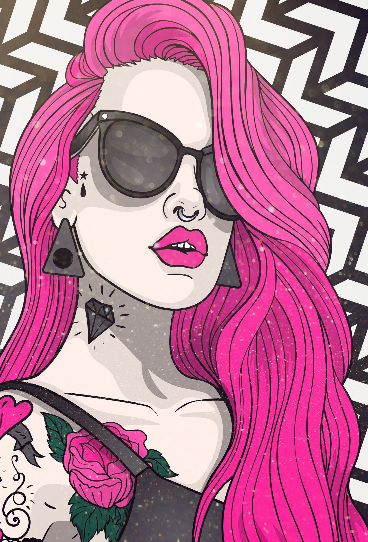 Recolor wallpaper coloured by me, background, pink, tattoo