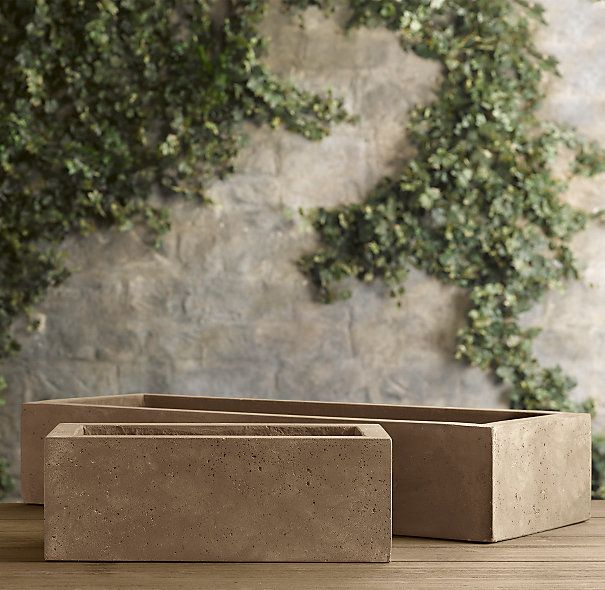 Weathered Cast Stone Tabletop Trough Planter   $119   $229