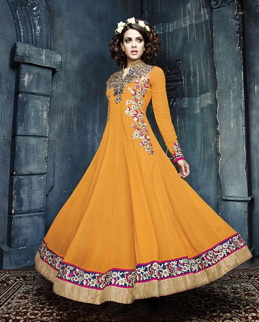 Mustard embroidered anarkali suit   1. Mustard poly georgette anarkali suit2. Comes with matching bottom and dupatta3. Can be stitched upto bust size 42 inches
