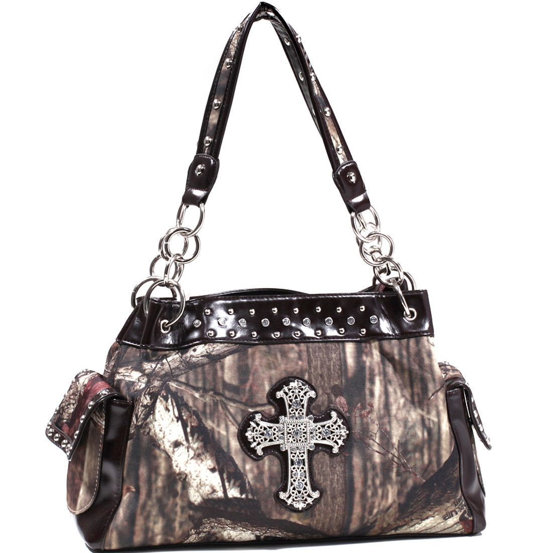 Mossy Oak Studded Camouflage Shoulder Bag w/ Rhinestone Cross - Camouflage/Co...
