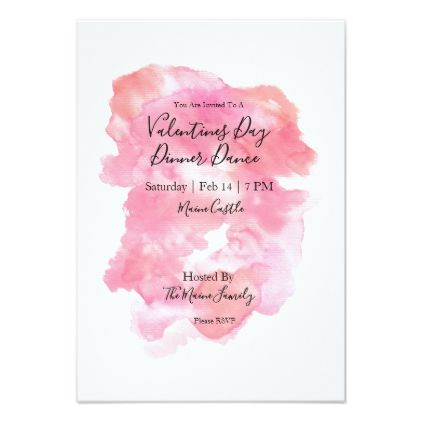Pink Watercolour Valentines Day Invitations  Pink Watercolor