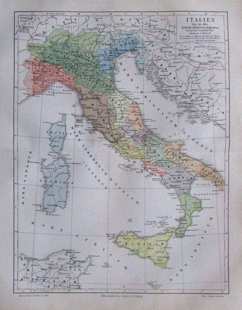 Italien bis in die Zeit des Kaisers Augustus Karte Lithographie 1895 historisch