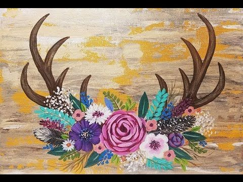 Rustic Antlers With Easy Flowers Acrylic Painting Tutorial For Beginners LIVE