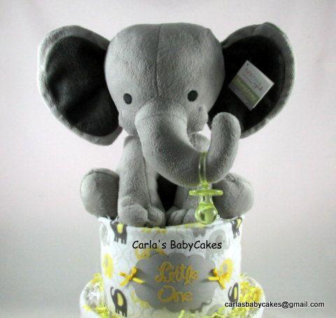 Elephant diaper cake grey yellow diaper cake baby shower elephant diaper cake grey yellow diaper cake baby shower decoration baby shower gift elephant baby shower new baby gift negle Image collections