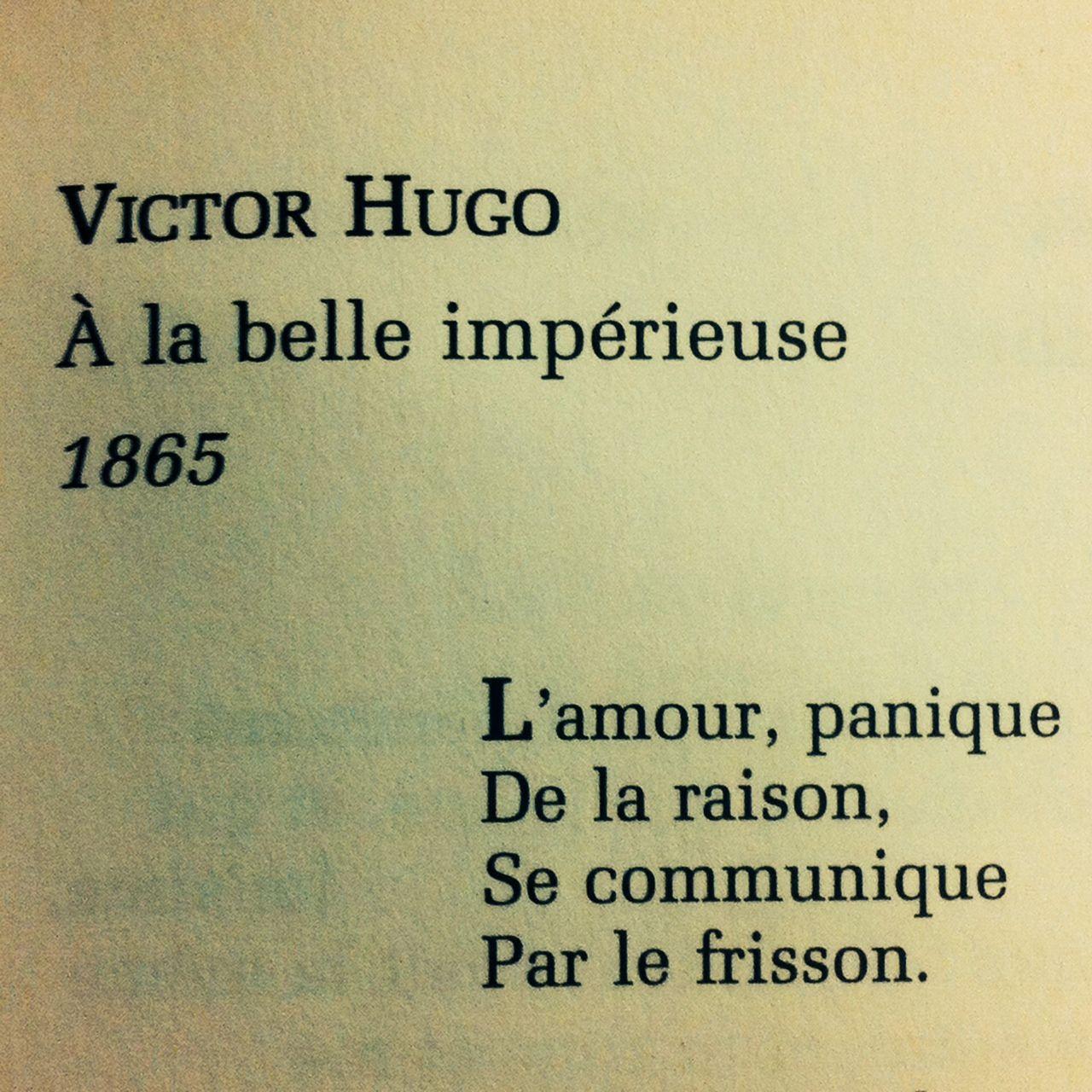 Extrait De A La Belle Impérieuse De Victor Hugo
