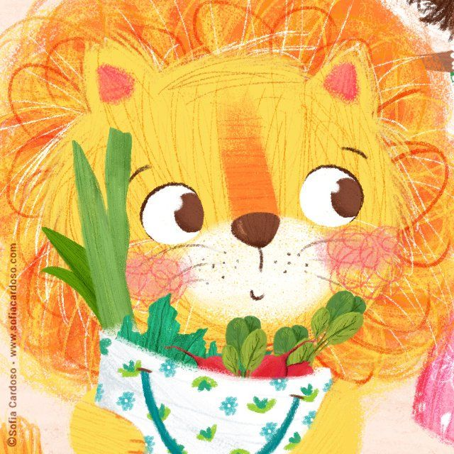 Wip: veggies for lunch?   children's illustration by Sofia Cardoso #kidlitart #illustration