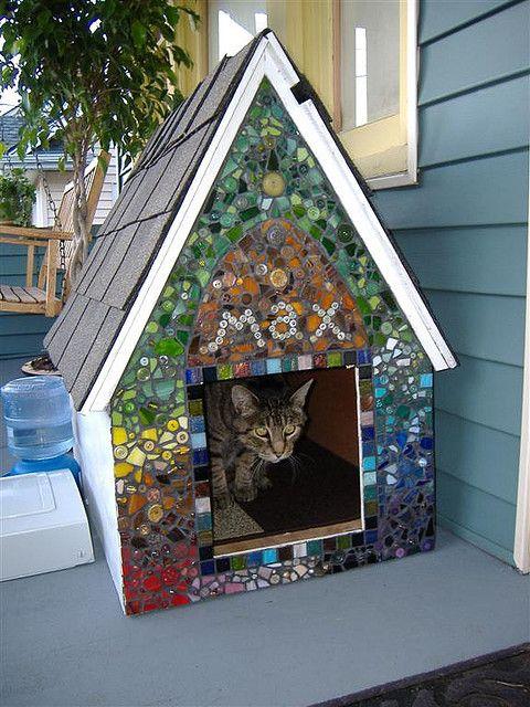 Mosaic dog house