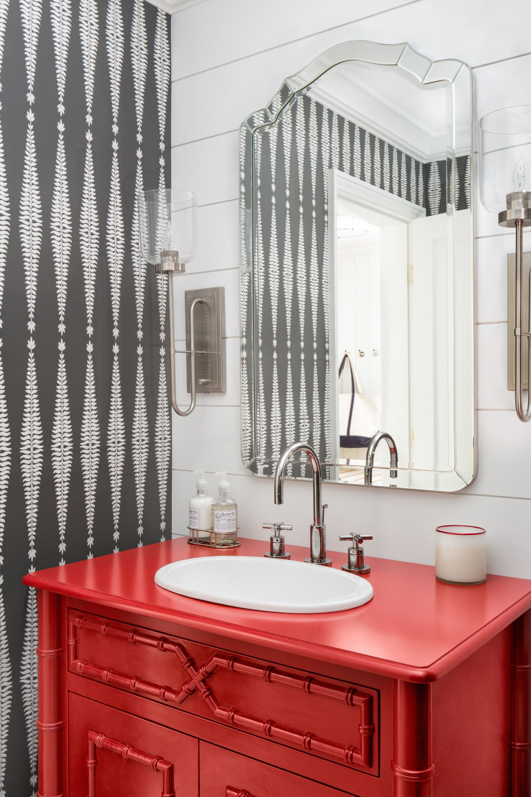Best Bathroom With Custom Red Vanity At Waites Landing 400 x 300