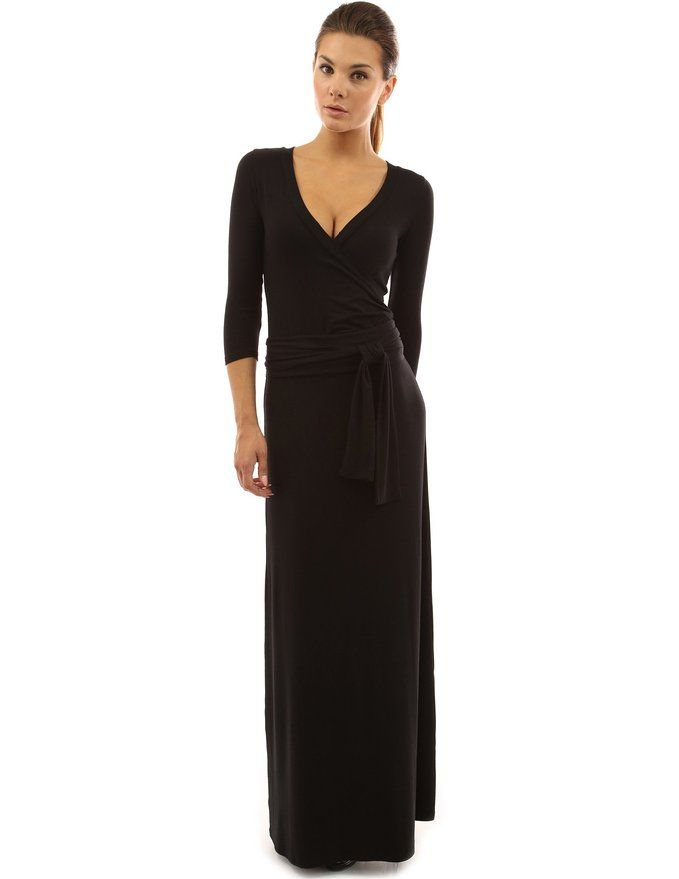 PattyBoutik Women's 34 Sleeve Faux Wrap Maxi Dress (Black L