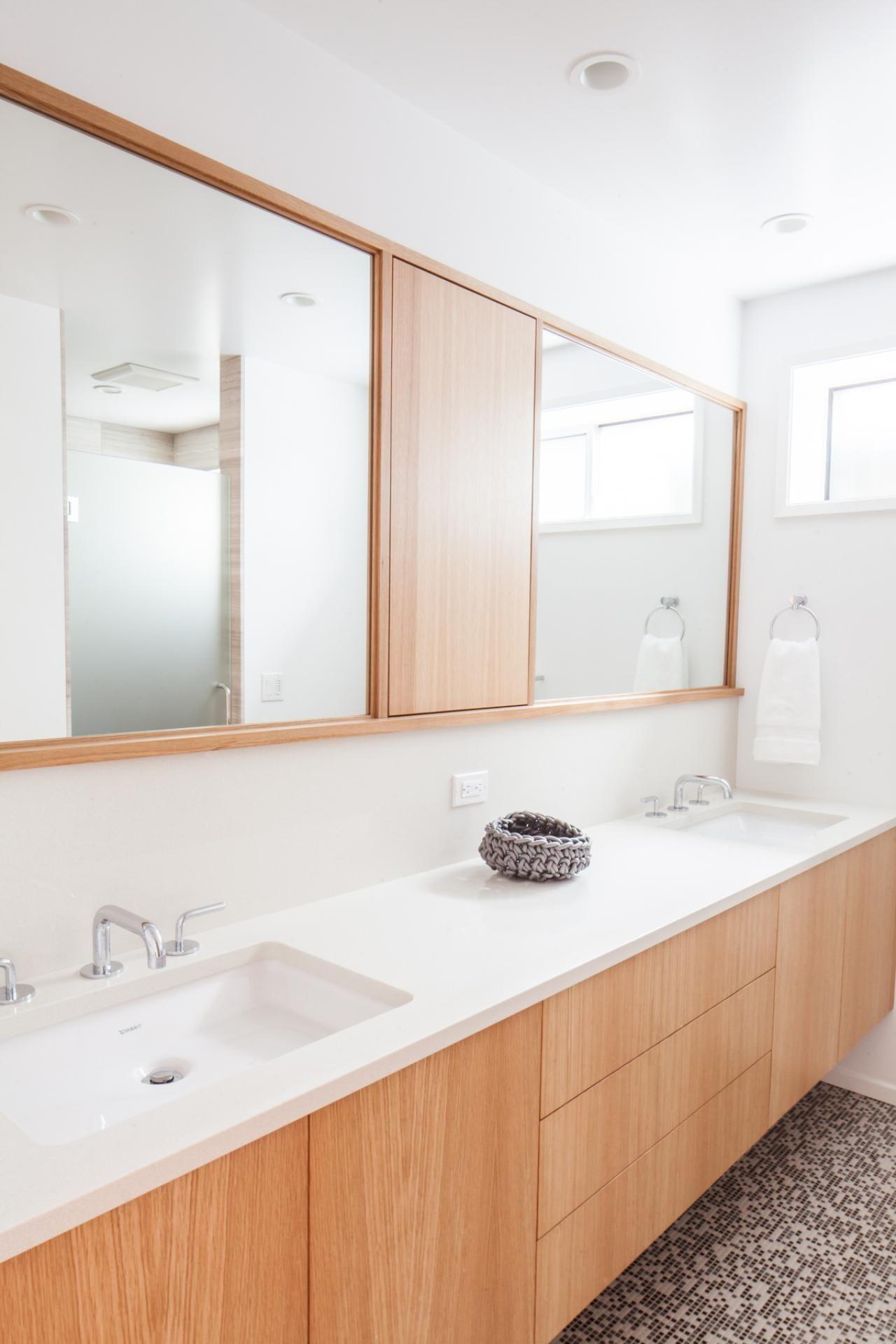 Modern Bathroom Features Custom White Oak Vanity Hgtv Minimalist Bathroom Design Bathroom Vanity Designs Modern White Bathroom