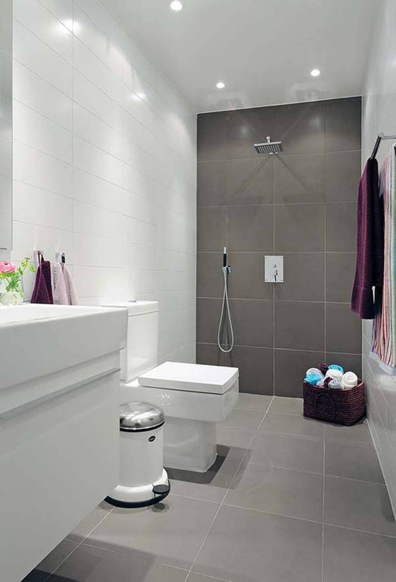 Lavishly Appointed Gray Small Bathroom Ideas With White Vanity - Purple bathroom decor for small bathroom ideas