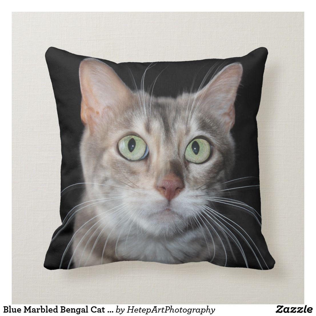 Blue Marbled Bengal Cat Face Cushion Zazzle.co.uk