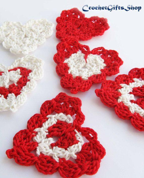 Heart Crochet pattern Garland Applique Motif Wedding easy Lace ...
