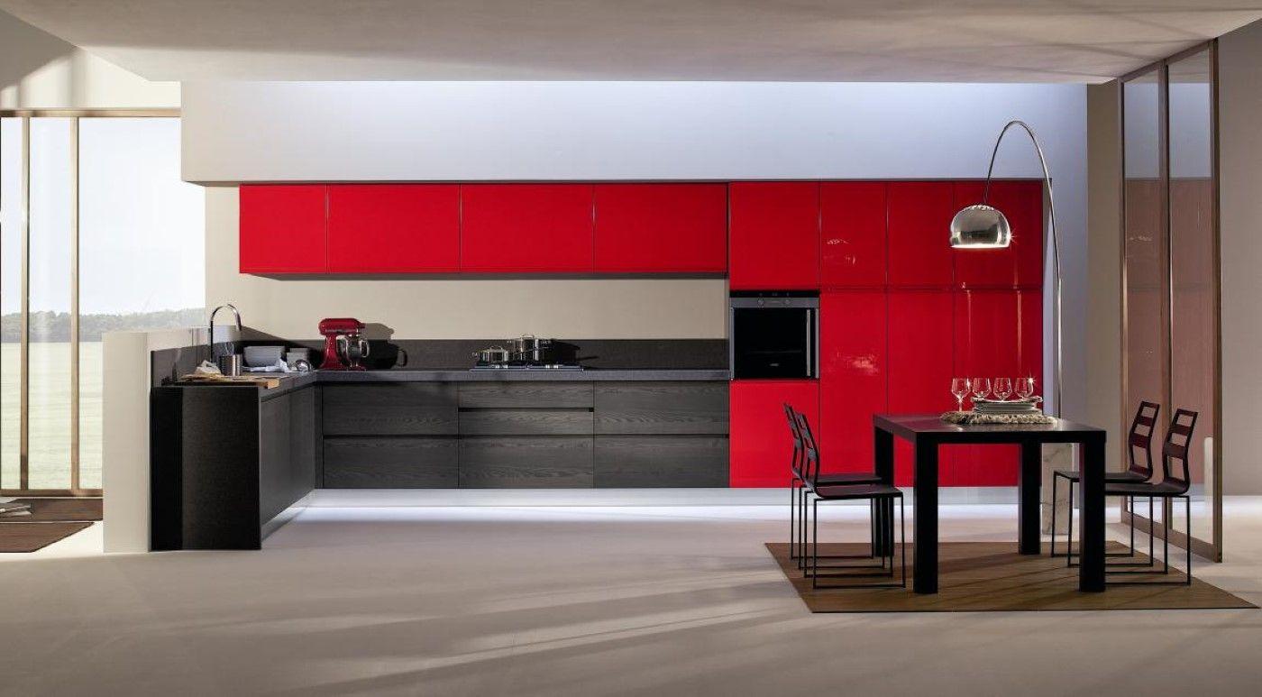 Cocina moderna roja y negra david moreno david moreno for Cocinas modernas valencia