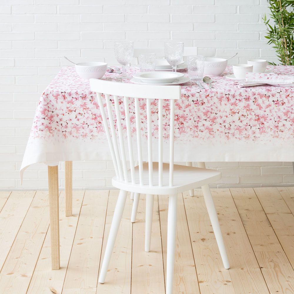 nappe et serviette de table roses coton imprim fleurs. Black Bedroom Furniture Sets. Home Design Ideas