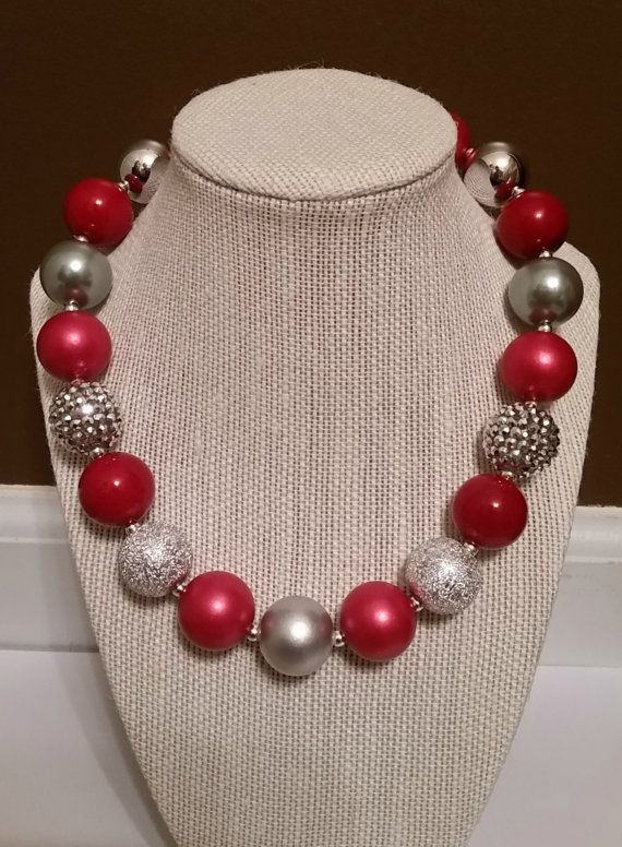 Red Chunky Necklace, Buckeyes Jewelry, Ohio Bubblegum Necklace, Red and Silver Necklace, Football Jewelry, Buckeyes Fan