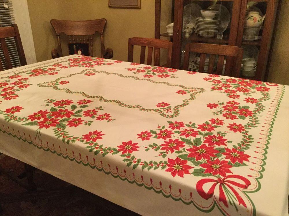 Vintage Christmas Poinsettia Tablecloth