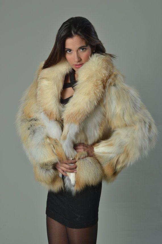 Golden Fox Fur Coat/ Fur jacket/ Luxury gift/ Wedding,or ...