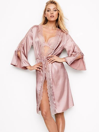 ... robe that s right for you at Victoria s Secret. VS Chantilly Lace   Satin  Kimono in antique lavender  78 843ced18b